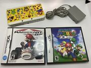 Nintendo New 3ds White Super Mario Land Limited Edition System Charger And 2 Games
