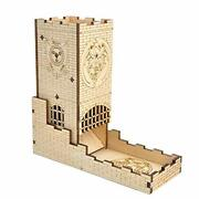Castle Dice Tower With Tray Wood Laser Cut Dragon Carving Easy Roller