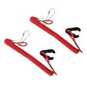Red Engine Switch Lanyard Plastic 160cm 2pcs Motor Kill Stop Safety Clip