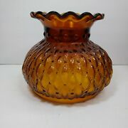 6.75 Vintage Amber Diamond Quilted Glass Hurricane Lamp Shade Replacement Globe