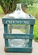 Antique Vintage Chemung Spring Water Wooden Crate Box W/ 5 Gallon Carboy Jug
