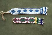2 Native American -indian Vintage Beaded Watch Fobs-