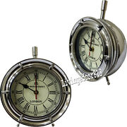 Collectible Nautical Chrome Wooden Table Clock Desk Decor Watch Item