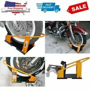 Motorcycle Wheel Chock Stand Trailer Tire Lock Transport Mount Sturdy Free Ship