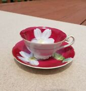 Vtg Trimont China Tea Cup And Saucer Hand Painted Occupied Japan Floral Pink White