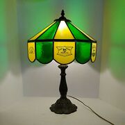 Vtg Rare John Deere Stained Glass Lamp 1970and039s Farm Equip 19x14 Chipped Read