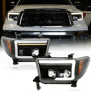 For 07-13 Toyota Tundra Led Low Beam Sequential Signal Tube Projector Headlight