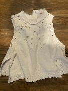 Free People Greatest Hits Eyelit Top High Neck Sleeveless Small Antique White
