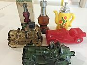 7 Vintage Avon Bottles For After Shave, Bubble Bath-cars, Chess And Pitcher