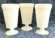 Vintage Anchor Hocking White Milk Glass Grape Footed Goblets
