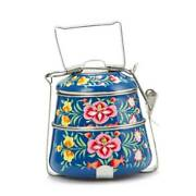 Lunch Box Enamelware Thai Chinese Style Tiffin Container Pinto Navy Blue 2 Tier