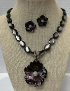 Stephen Dweck Black Mop Bead Necklace, Diamond Pendant And Earrings Sterling