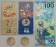 Russian Fifa Football 2018 World Cup Set Coins Polymer Note