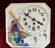 Vintage Porcelain German 8-day Wall Clock Hand Painted Windmill 9 X 9 Working