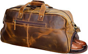 Vc Bags Vintage Leather Duffle Bag For Travel Or The Gym, Overnight Bag For Men