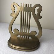 Vintage Solid Brass Bookend Music Harp Stave Staff Clef Single
