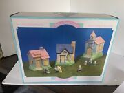 Porcelain Hand Painted Easter Village Hopalong House 9 Piece In Box 3
