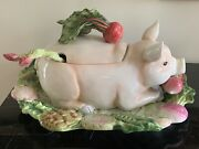 Fitz And Floyd French Market Pig Tureen Ladle And Under Plate / Wall Plate