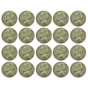 1 Face 20 Coins Circulated War Nickels 35 Silver 1942-1945