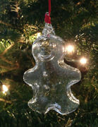 New In Box Steuben Crystal Gingerbread Man Christmas Tree Glass Rare Ornament