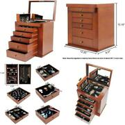 Homde Large Wooden Jewelry Box/cabinet/armoire With Lock For Women Girls Ring Ne