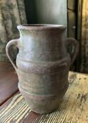 Small Antique Vintage French Unglazed Confit Pot With Two Handles, 8.5 Tall
