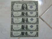 Lot Of Five Sequential 1 Silver Certificate Notes 1957-b Series Gem Unc Grade