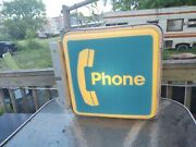 Vintage Bell Telephone Pay Phone Booth Square Lighted Sign Working