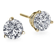 1 Ct Diamond Earrings Yellow Gold Screw Back Si2 3 Prong Msrp 4500 20849047