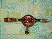 Millers Falls No. 5 Egg Beater Hand Drill 3-jaw Chuck Nice Paint Still On Handle