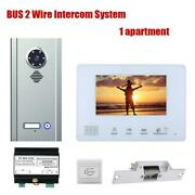 Bus 2 Wire Intercom Systems Kit 1/2/3/4 Units Apartment 7 Inch Video Door Phone