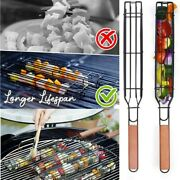 Easy-flipping Barbecue Baskets Non-stick Coated Steel Bbq Barbecue Grill Basket