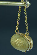 19thc Rare French Sewing Thimble Egg Chatelaine Case/ Box Holder Brass Flowers