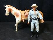 Vintage 1973 Gabriel Toys Lone Ranger Action Figure With Horse Silver