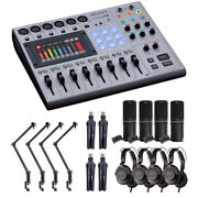 Zoom Podtrak P8 Podcasting Mixer W/ 2x Podcast Mic Pack And 2x Boom Arm
