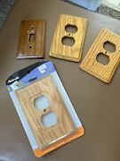 Amerelle Solid Oak Outlet Cover Nip + 2 Outlet Covers And 1 Switchplate Cover Used