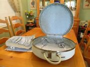 Vintage Round American Tourister Tiara 20 White Suitcase W/ Keys And Divider Vgvc