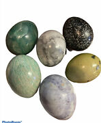Lot Of 6 Marble Alabaster Eggs