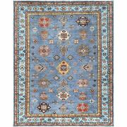 8and039x10and039 Light Blue Tribal Design Super Kazak Hand Knotted Pure Wool Rug G61165