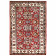 5and0397x8and0391 Red Super Kazak With Star Design Hand Knotted Natural Wool Rug G61360