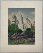 Vintage 1953 James Russell Sherman Central Park New York City Modernist Painting