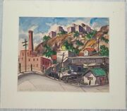 1956 James Russell Sherman 'near West New York' Modernist Industrial Painting