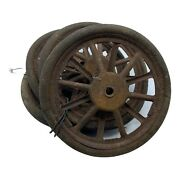 """4 Antique Toy Wheels 1930s Doll Carrige Or Tricycle 7-1/4"""" W/ Rubber Tires"""