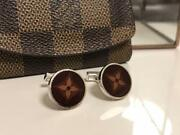 Louis Vuitton Oval Cufflinks Brown Silver 925 Mens Accessories Lost Box Used
