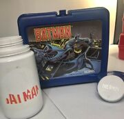 Vintage 1991 Batman Lunchbox And Plastic Thermos Dc Comics Collectible Rare