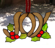 Leaded Stained Glass Joy With Holly Berries Window Suncatcher Christmas Ornament