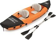 Inflatable Kayak 2 Person Tandem With Aluminum Oars And High Output Air Pump