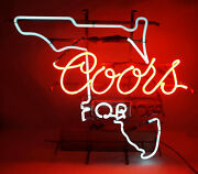 Vintage 1970and039s Coors Beer Florida Light Up Neon Sign Universal Electric Co