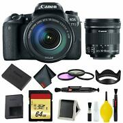 Canon Eos 77d Dslr Camera With 18-135mm Usm Lens Memory And Filter Kit Bundle