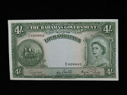 4 Four Shillings The Bahamas Government Banknote 1953 Commonwealth A/6 920803 Au